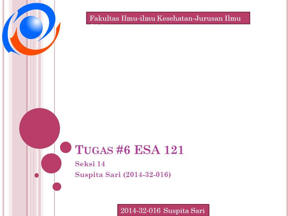 Fakultas Ilmu-ilmu Kesehatan-Jurusan Ilmu Gizi 2014-32-016 Suspita Sari T UGAS #6 ESA 121 Seksi 14 Suspita Sari (2014-32-016)