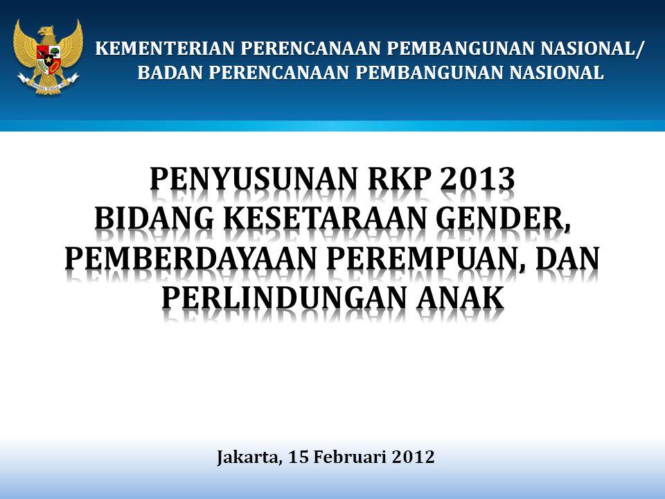 KEMENTERIAN PPN/ BAPPENAS o Walaupun ujicoba PPRG (Perencanaan dan Penganggaran yang responsif Gender) baru akan dilakukan di tingkat provinsi pada tahun 2012, namun Pemprov Banten atas inisiatif sendiri memulai ujicoba melaksanakan PPRG pada tahun 2010.