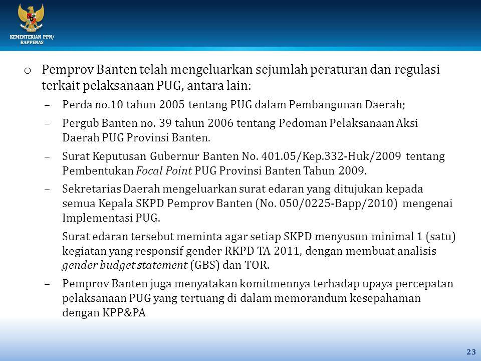 KEMENTERIAN PPN/ BAPPENAS o Pemprov Banten telah mengeluarkan sejumlah peraturan dan regulasi terkait pelaksanaan PUG, antara lain: –Perda no.10 tahun 2005 tentang PUG dalam Pembangunan Daerah; –Pergub Banten no.