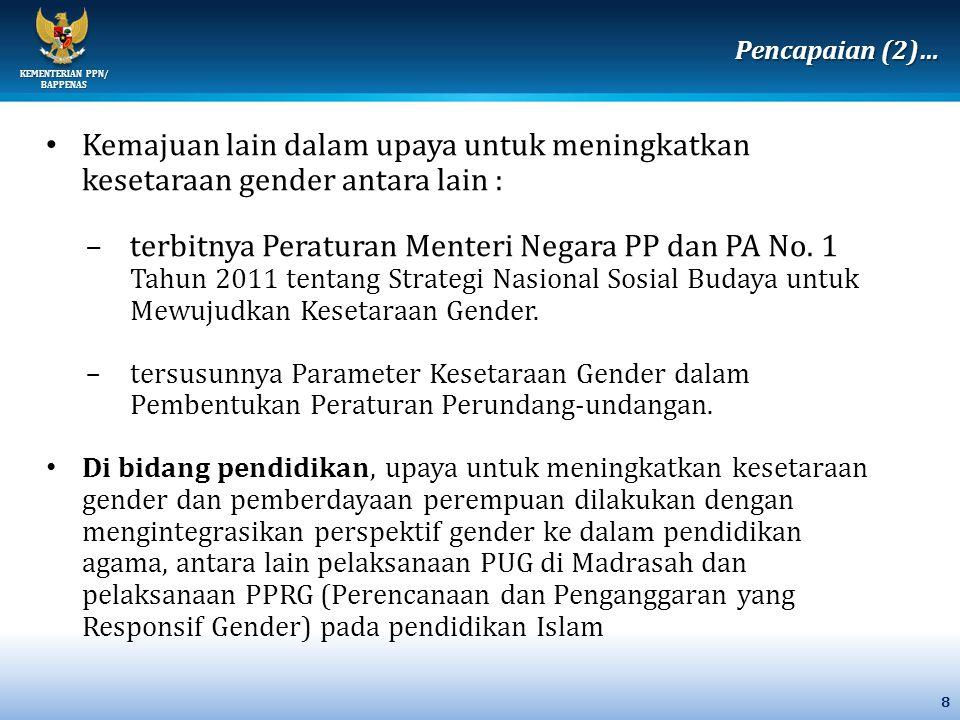 KEMENTERIAN PPN/ BAPPENAS 8 Kemajuan lain dalam upaya untuk meningkatkan kesetaraan gender antara lain : –terbitnya Peraturan Menteri Negara PP dan PA No.