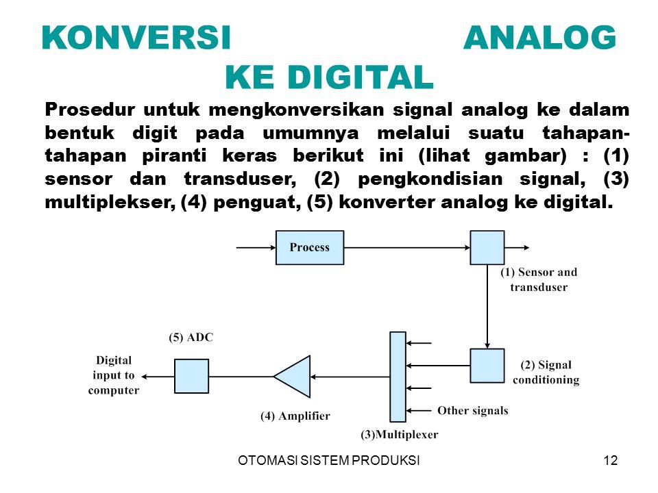 OTOMASI SISTEM PRODUKSI12 KONVERSI ANALOG KE DIGITAL Prosedur untuk mengkonversikan signal analog ke dalam bentuk digit pada umumnya melalui suatu tah