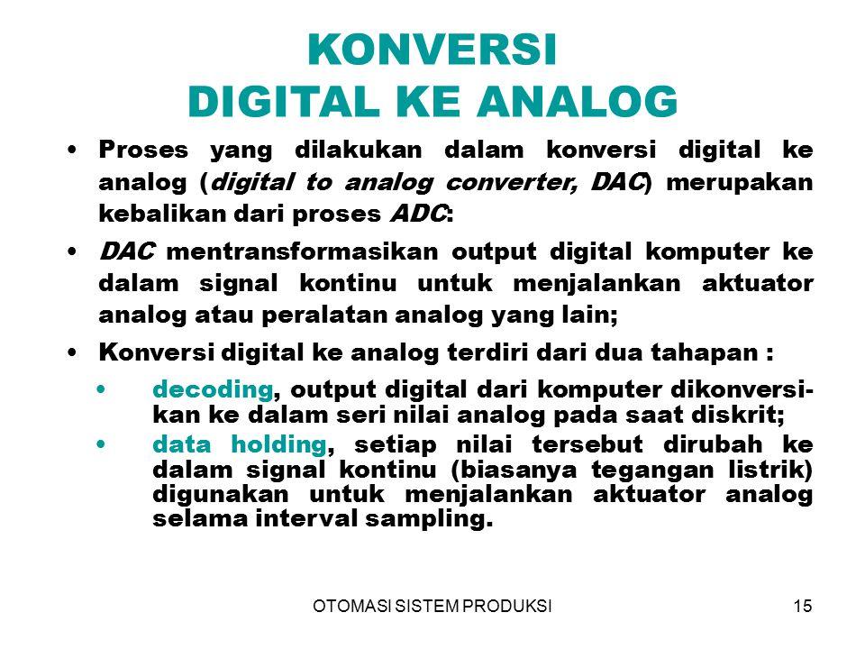 OTOMASI SISTEM PRODUKSI15 KONVERSI DIGITAL KE ANALOG Proses yang dilakukan dalam konversi digital ke analog (digital to analog converter, DAC) merupak