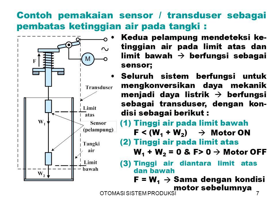 OTOMASI SISTEM PRODUKSI7 Contoh pemakaian sensor / transduser sebagai pembatas ketinggian air pada tangki : Kedua pelampung mendeteksi ke- tinggian ai