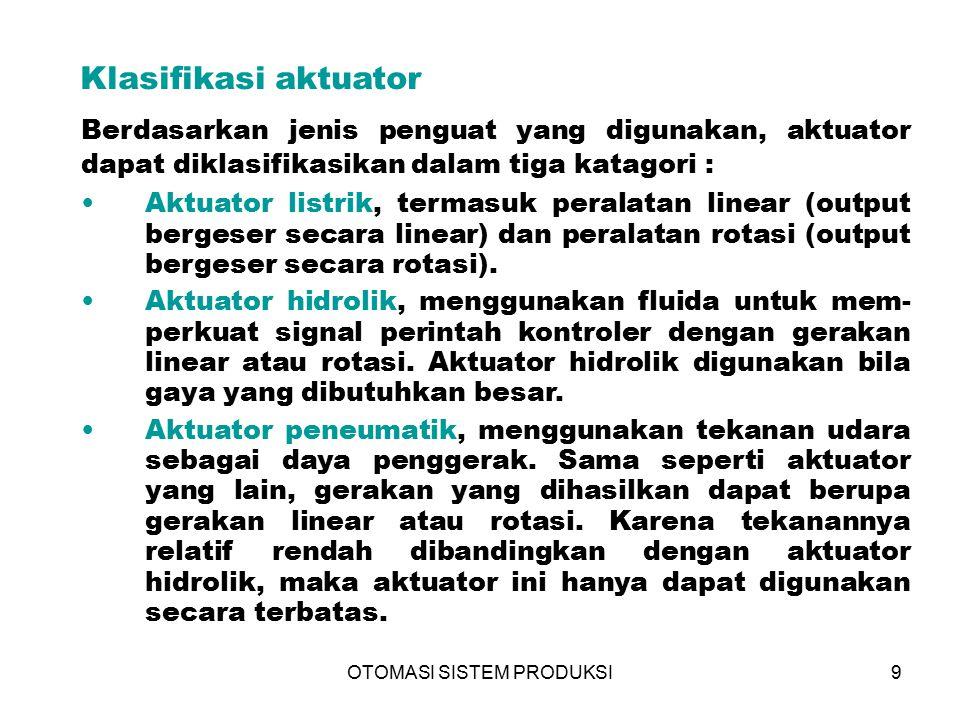 OTOMASI SISTEM PRODUKSI9 Berdasarkan jenis penguat yang digunakan, aktuator dapat diklasifikasikan dalam tiga katagori : Klasifikasi aktuator Aktuator