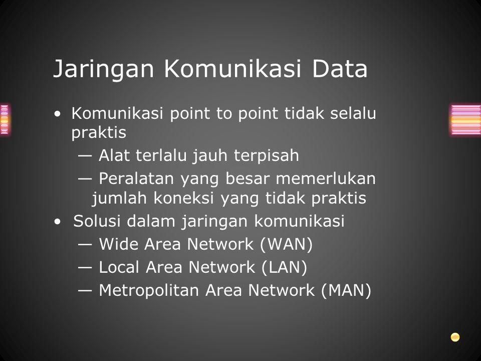 Komunikasi point to point tidak selalu praktis — Alat terlalu jauh terpisah — Peralatan yang besar memerlukan jumlah koneksi yang tidak praktis Solusi