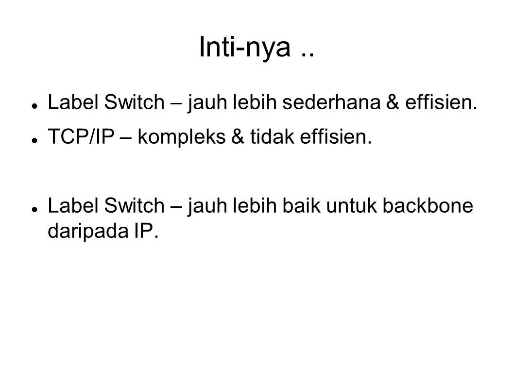 Inti-nya..Label Switch – jauh lebih sederhana & effisien.