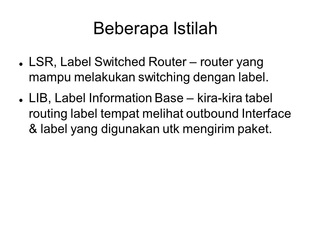 Beberapa Istilah LSR, Label Switched Router – router yang mampu melakukan switching dengan label.