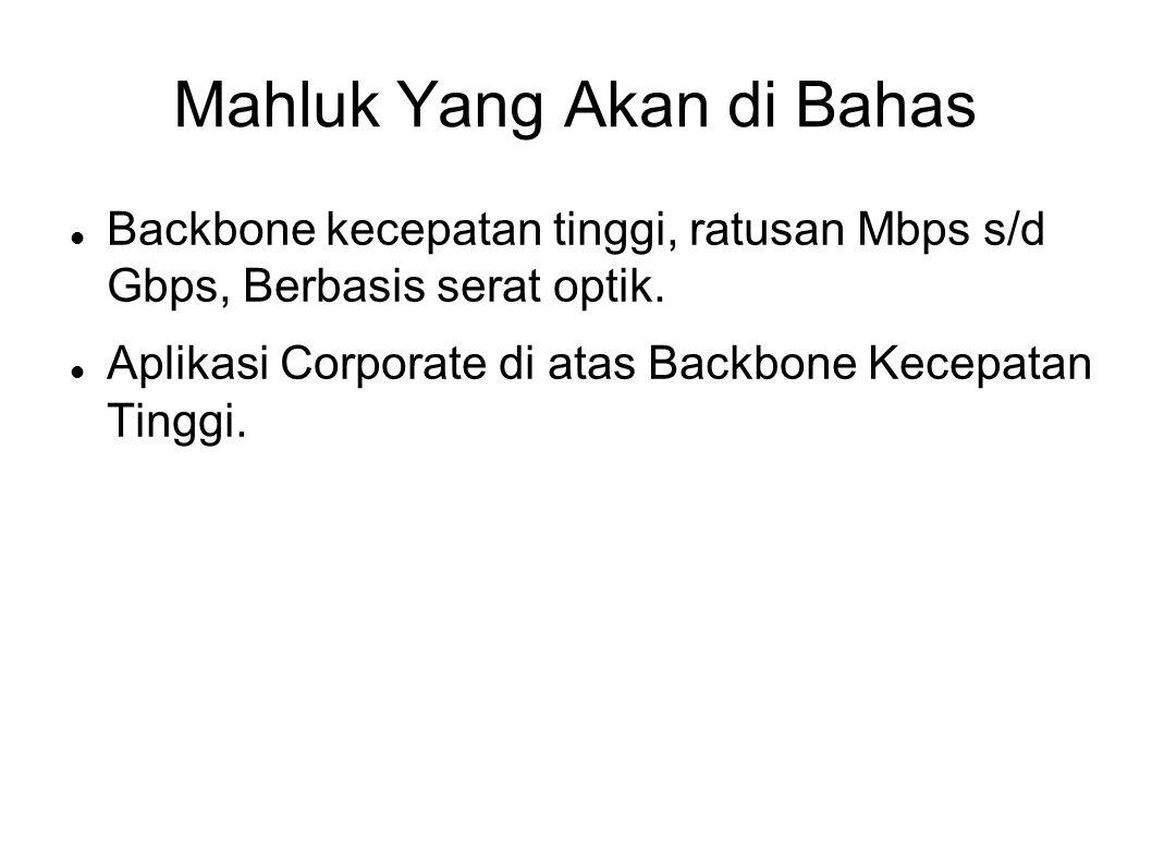 Mahluk Yang Akan di Bahas Backbone kecepatan tinggi, ratusan Mbps s/d Gbps, Berbasis serat optik.