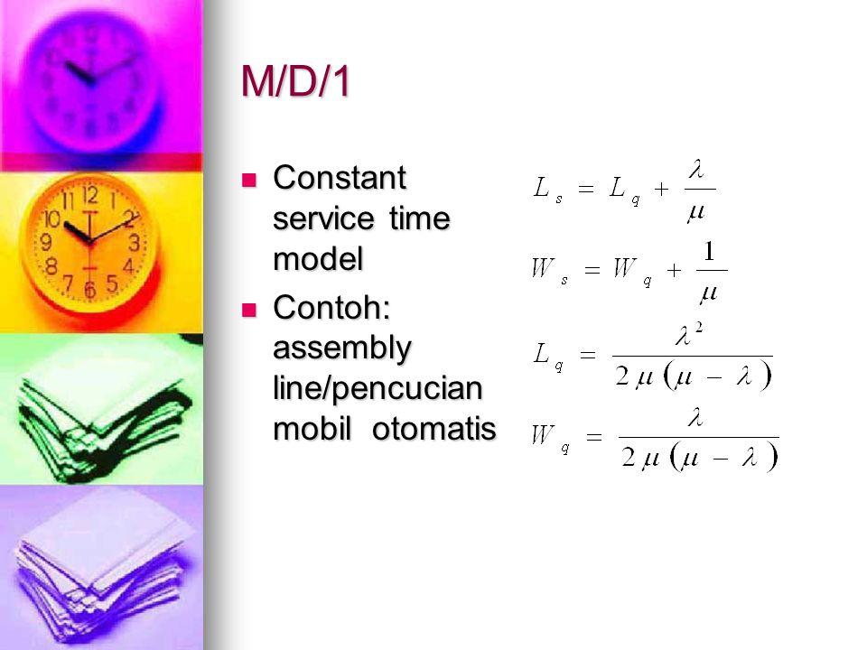 M/D/1 Constant service time model Constant service time model Contoh: assembly line/pencucian mobil otomatis Contoh: assembly line/pencucian mobil oto