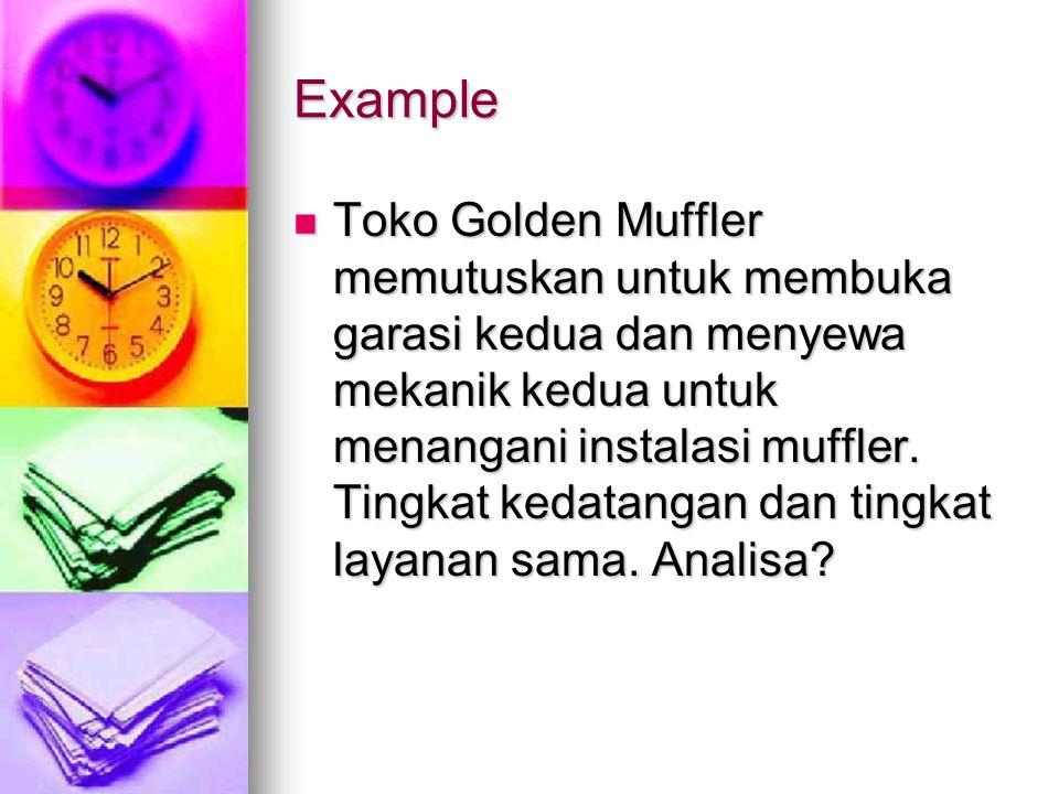 Example Toko Golden Muffler memutuskan untuk membuka garasi kedua dan menyewa mekanik kedua untuk menangani instalasi muffler. Tingkat kedatangan dan