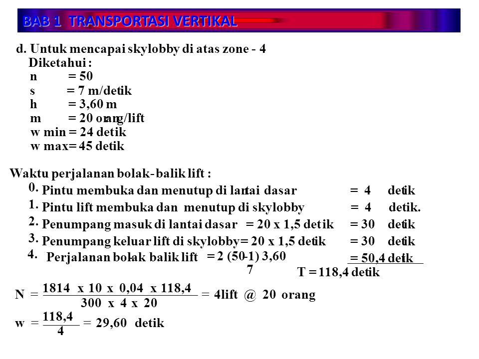 BAB 1 TRANSPORTASI VERTIKAL d. Untuk mencapai skylobby di atas zone - 4 Diketahui : n s h m = 50 = 7 m/detik = 3,60 m = 20 orang/lift w min = 24 detik