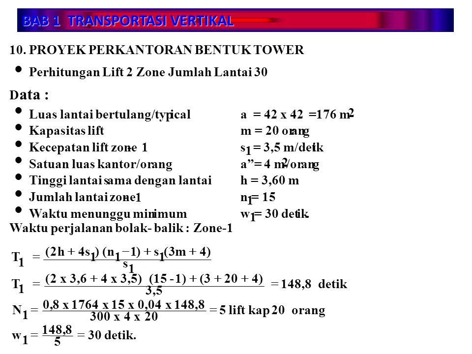 BAB 1 TRANSPORTASI VERTIKAL 10. PROYEK PERKANTORAN BENTUK TOWER Perhitungan Lift 2 Zone Jumlah Lantai 30 D ata : 1 Luas lantai bertulang/typical a = 4