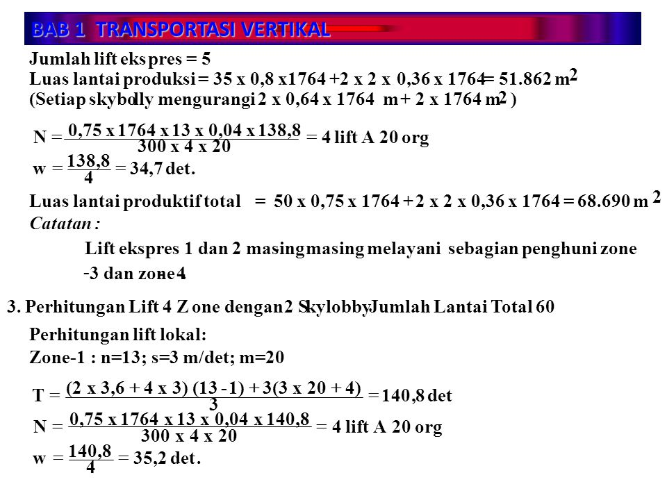 BAB 1 TRANSPORTASI VERTIKAL Jumlah lift ekspres = 5 Luas lantai produksi = 35 x 0,8 x1764 +2 x 2 x 0,36 x 1764 = 51.862 m 2 (Setiap skybolly mengurang