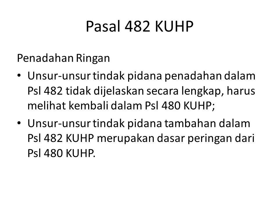 Pasal 482 KUHP Penadahan Ringan Unsur-unsur tindak pidana penadahan dalam Psl 482 tidak dijelaskan secara lengkap, harus melihat kembali dalam Psl 480