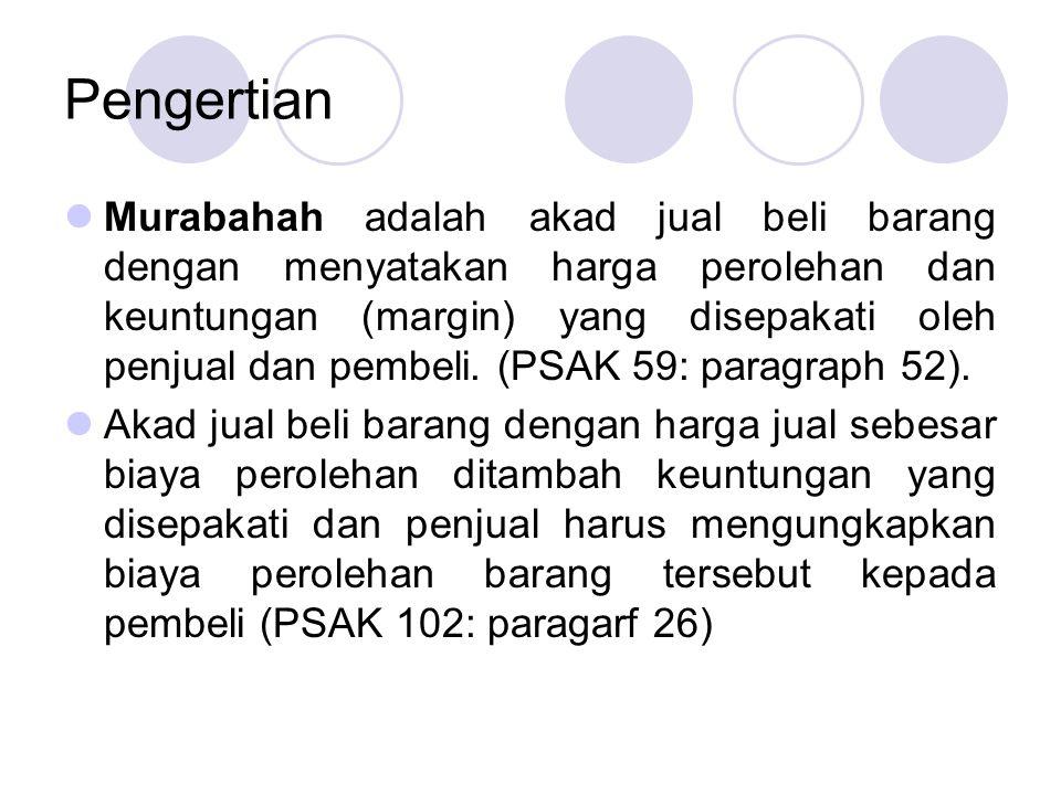 Pengertian Murabahah adalah akad jual beli barang dengan menyatakan harga perolehan dan keuntungan (margin) yang disepakati oleh penjual dan pembeli.