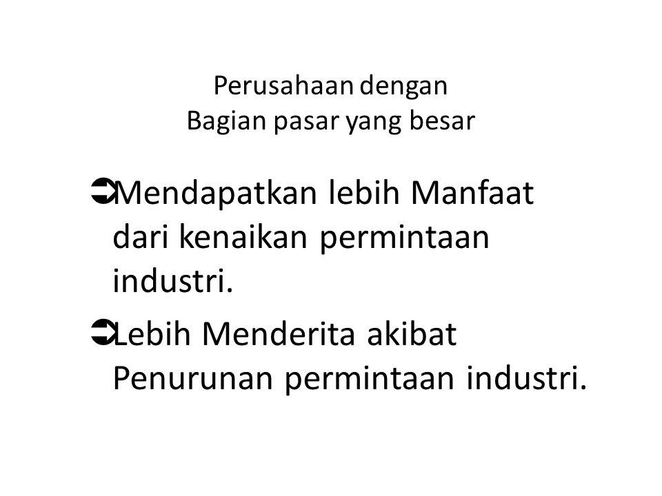 Perusahaan dengan Bagian pasar yang besar  Mendapatkan lebih Manfaat dari kenaikan permintaan industri.  Lebih Menderita akibat Penurunan permintaan