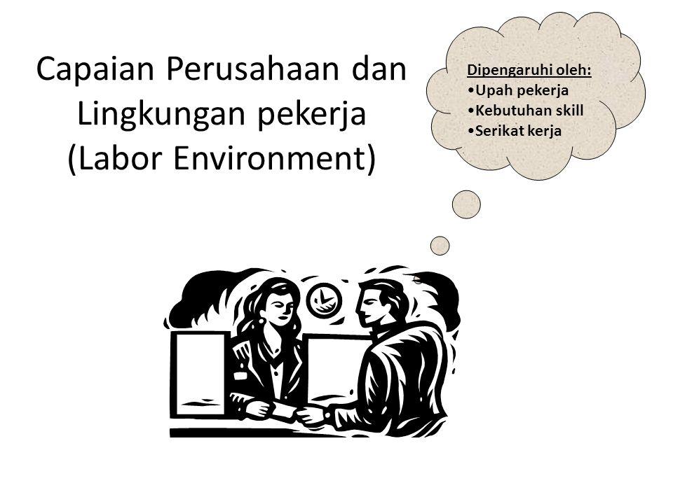 Capaian Perusahaan dan Lingkungan pekerja (Labor Environment) Dipengaruhi oleh: Upah pekerja Kebutuhan skill Serikat kerja