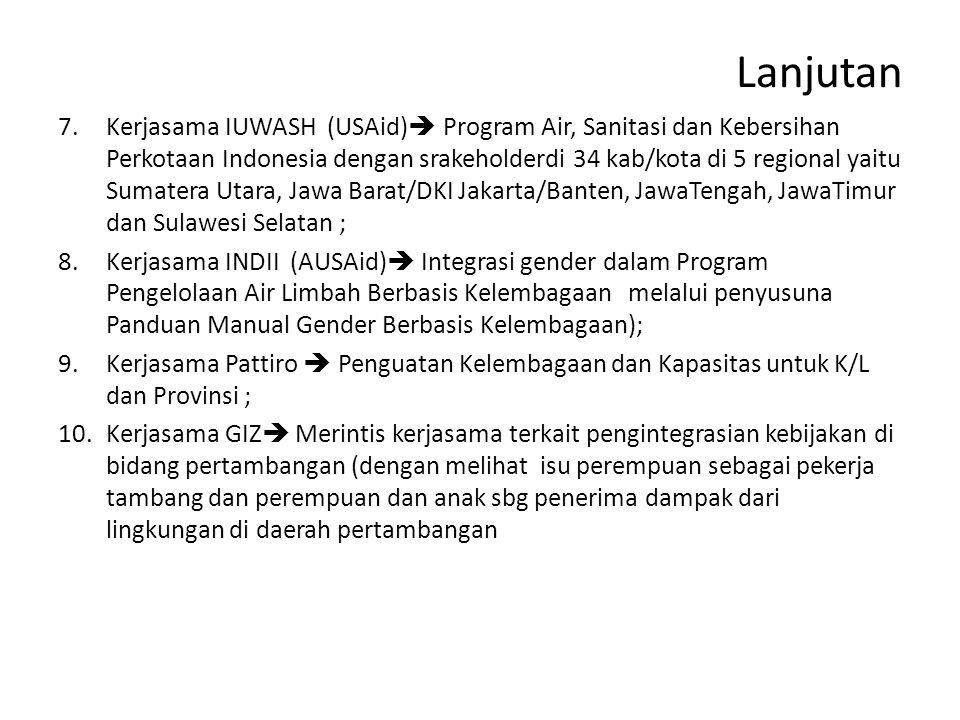 Lanjutan 7.Kerjasama IUWASH (USAid)  Program Air, Sanitasi dan Kebersihan Perkotaan Indonesia dengan srakeholderdi 34 kab/kota di 5 regional yaitu Sumatera Utara, Jawa Barat/DKI Jakarta/Banten, JawaTengah, JawaTimur dan Sulawesi Selatan ; 8.Kerjasama INDII (AUSAid)  Integrasi gender dalam Program Pengelolaan Air Limbah Berbasis Kelembagaan melalui penyusuna Panduan Manual Gender Berbasis Kelembagaan); 9.Kerjasama Pattiro  Penguatan Kelembagaan dan Kapasitas untuk K/L dan Provinsi ; 10.Kerjasama GIZ  Merintis kerjasama terkait pengintegrasian kebijakan di bidang pertambangan (dengan melihat isu perempuan sebagai pekerja tambang dan perempuan dan anak sbg penerima dampak dari lingkungan di daerah pertambangan