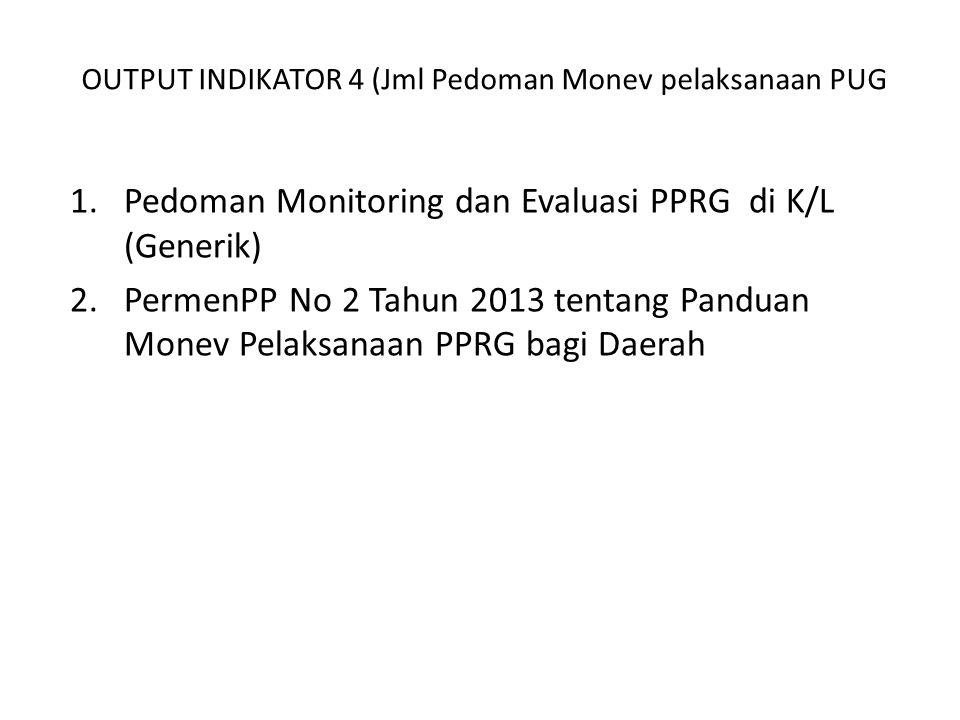 OUTPUT INDIKATOR 4 (Jml Pedoman Monev pelaksanaan PUG 1.Pedoman Monitoring dan Evaluasi PPRG di K/L (Generik) 2.PermenPP No 2 Tahun 2013 tentang Panduan Monev Pelaksanaan PPRG bagi Daerah