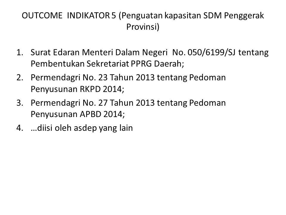 OUTCOME INDIKATOR 5 (Penguatan kapasitan SDM Penggerak Provinsi) 1.Surat Edaran Menteri Dalam Negeri No. 050/6199/SJ tentang Pembentukan Sekretariat P