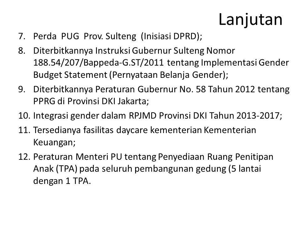 Lanjutan 7.Perda PUG Prov. Sulteng (Inisiasi DPRD); 8.Diterbitkannya Instruksi Gubernur Sulteng Nomor 188.54/207/Bappeda-G.ST/2011 tentang Implementas