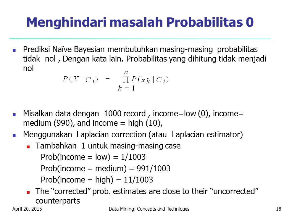 April 20, 2015Data Mining: Concepts and Techniques18 Menghindari masalah Probabilitas 0 Prediksi Naïve Bayesian membutuhkan masing-masing probabilitas
