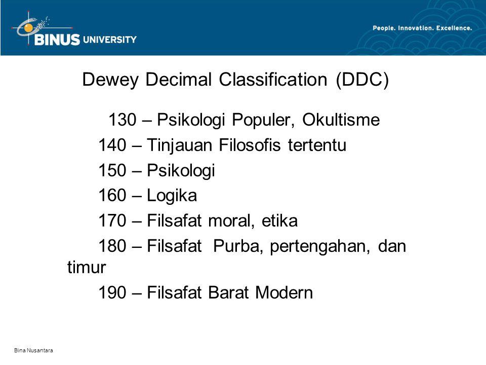 Bina Nusantara Dewey Decimal Classification (DDC) 130 – Psikologi Populer, Okultisme 140 – Tinjauan Filosofis tertentu 150 – Psikologi 160 – Logika 170 – Filsafat moral, etika 180 – Filsafat Purba, pertengahan, dan timur 190 – Filsafat Barat Modern