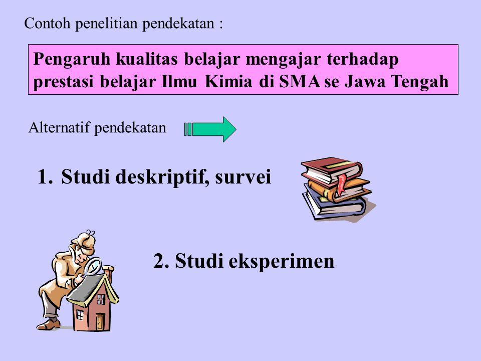 1.Studi deskriptif, survei 2.