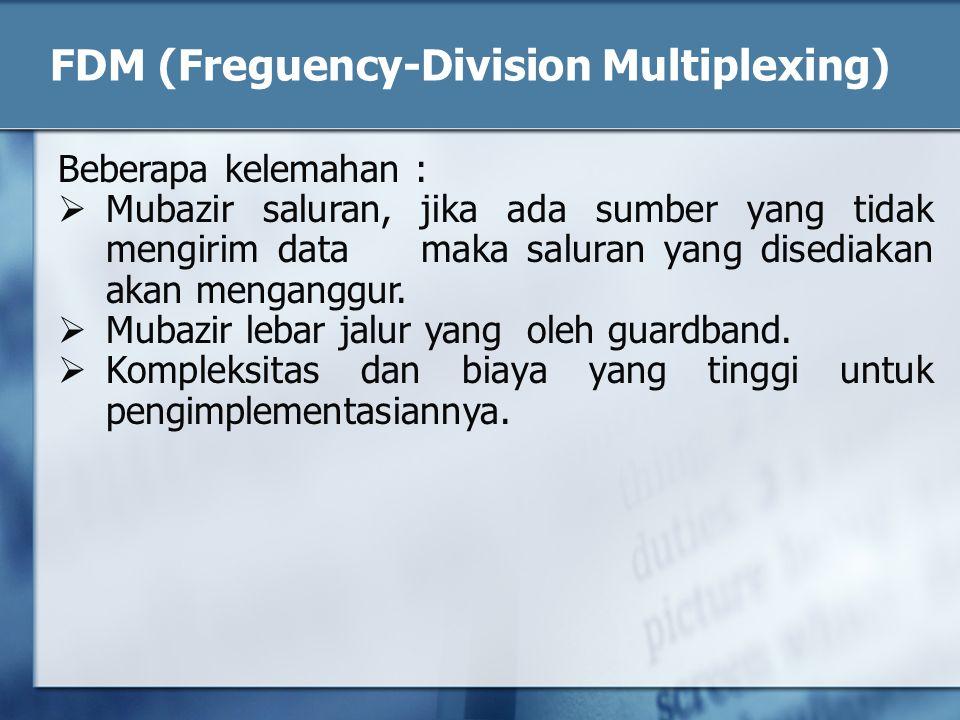 Beberapa kelemahan :  Mubazir saluran, jika ada sumber yang tidak mengirim data maka saluran yang disediakan akan menganggur.  Mubazir lebar jalur y