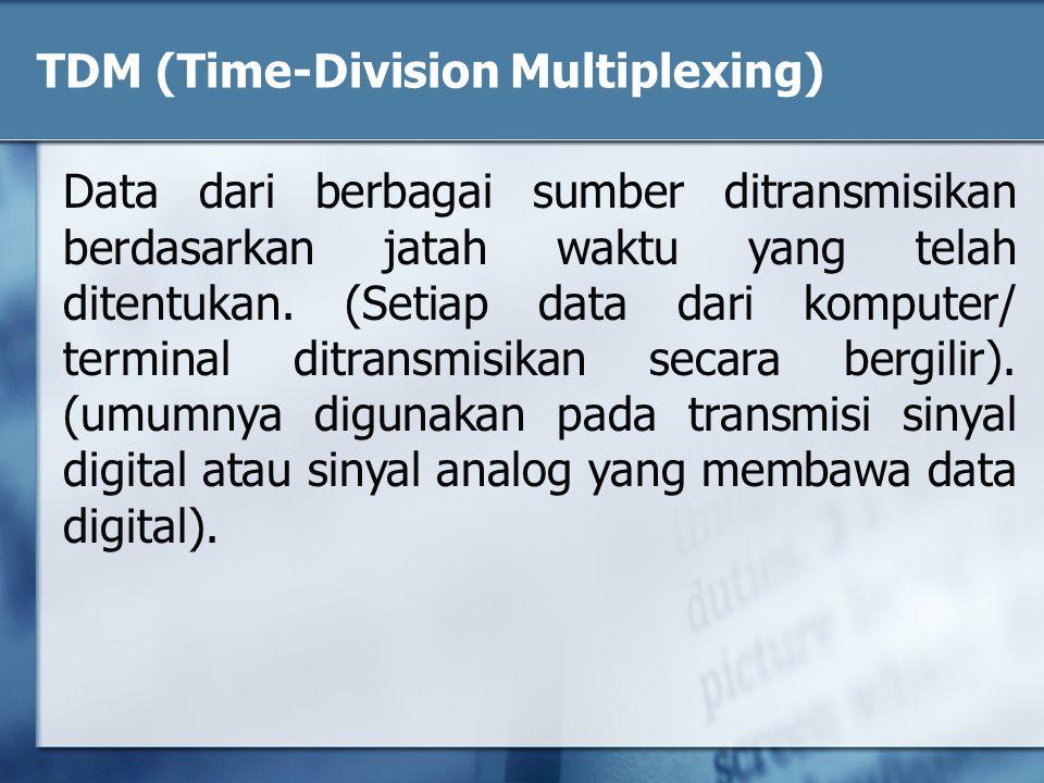 TDM (Time-Division Multiplexing) Data dari berbagai sumber ditransmisikan berdasarkan jatah waktu yang telah ditentukan. (Setiap data dari komputer/ t