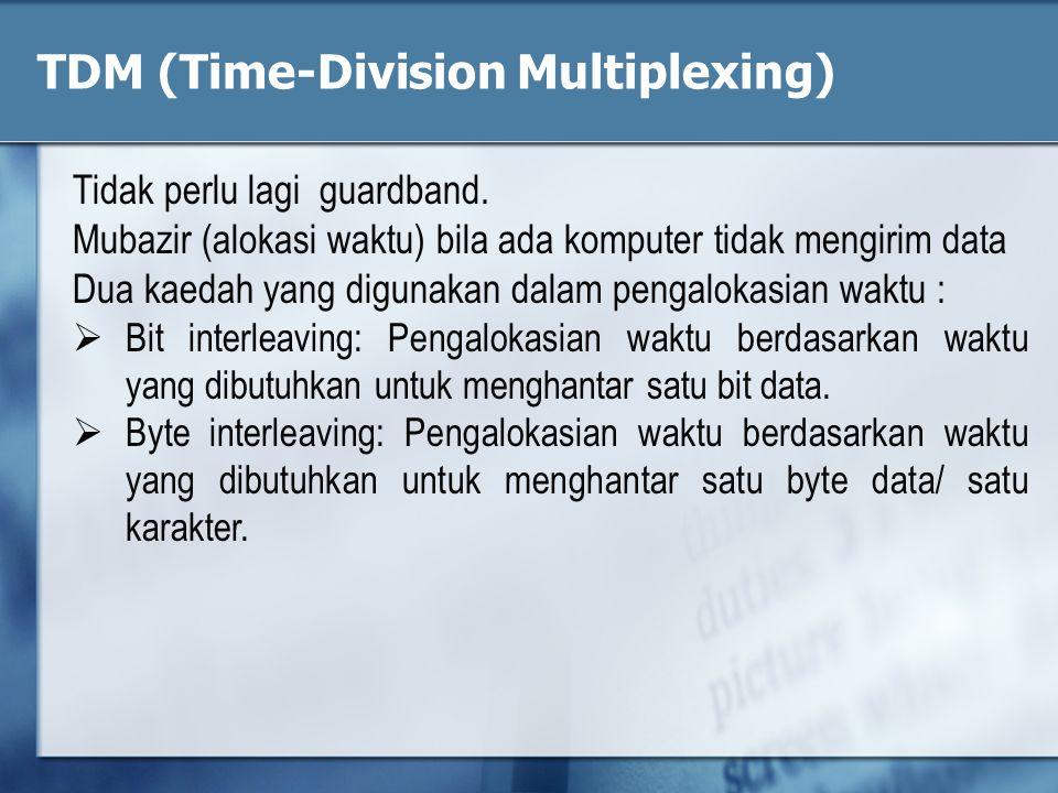 Tidak perlu lagi guardband. Mubazir (alokasi waktu) bila ada komputer tidak mengirim data Dua kaedah yang digunakan dalam pengalokasian waktu :  Bit