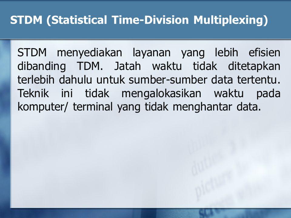 STDM (Statistical Time-Division Multiplexing) STDM menyediakan layanan yang lebih efisien dibanding TDM. Jatah waktu tidak ditetapkan terlebih dahulu