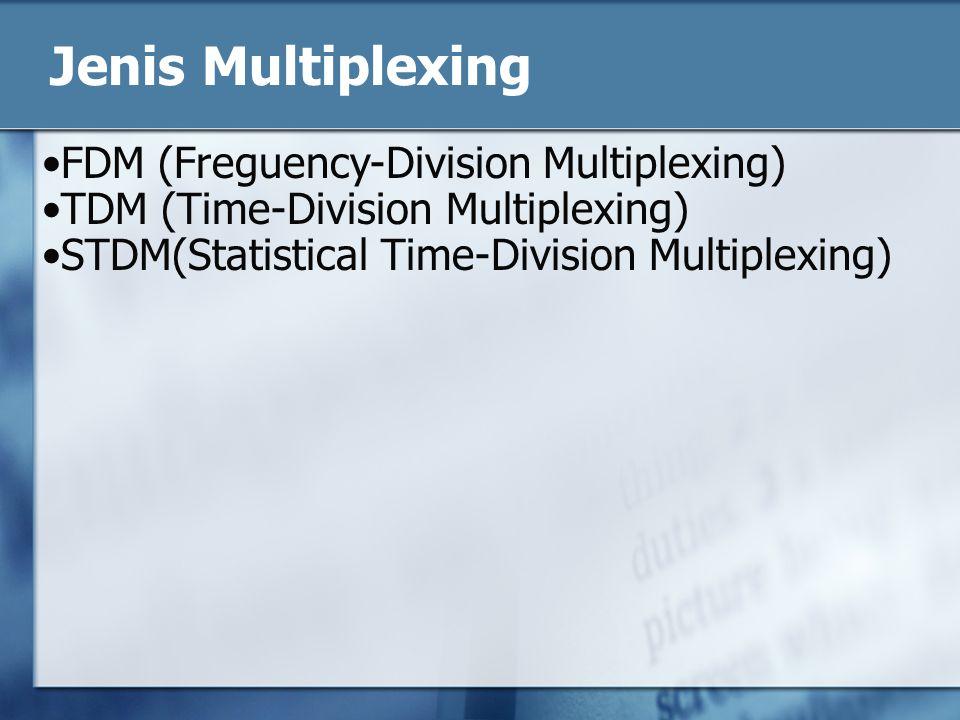 FDM (Freguency-Division Multiplexing) Sejumlah sinyal secara simultan dibawa pada media yang sama dengan cara mengalokasikan band frekwensi yang berlainan pada masing-masing sinyal.