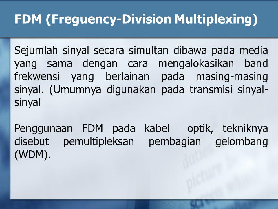 FDM (Freguency-Division Multiplexing) Sejumlah sinyal secara simultan dibawa pada media yang sama dengan cara mengalokasikan band frekwensi yang berla