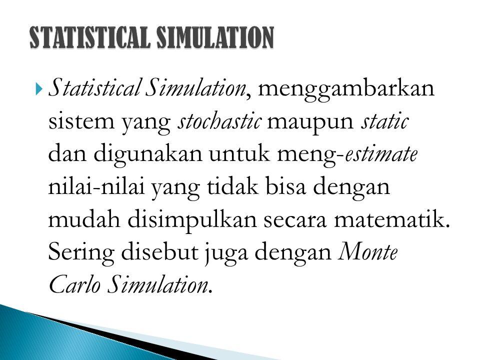 Statistical Simulation, menggambarkan sistem yang stochastic maupun static dan digunakan untuk meng-estimate nilai-nilai yang tidak bisa dengan muda