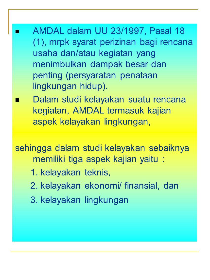 AMDAL dalam UU 23/1997, Pasal 18 (1), mrpk syarat perizinan bagi rencana usaha dan/atau kegiatan yang menimbulkan dampak besar dan penting (persyarata