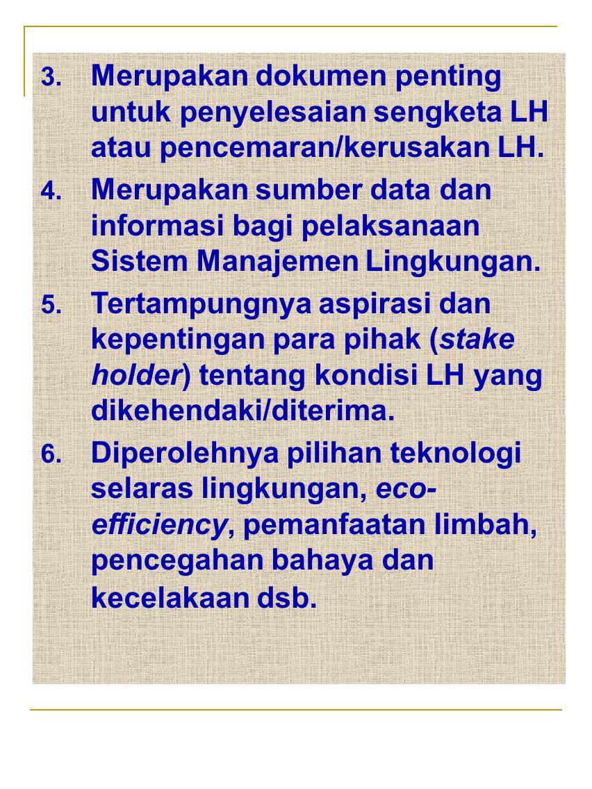 3. Merupakan dokumen penting untuk penyelesaian sengketa LH atau pencemaran/kerusakan LH. 4. Merupakan sumber data dan informasi bagi pelaksanaan Sist