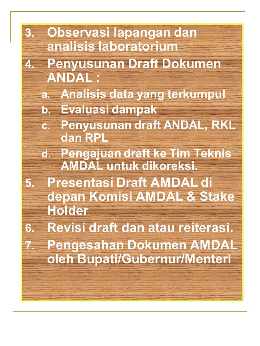 3. Observasi lapangan dan analisis laboratorium 4. Penyusunan Draft Dokumen ANDAL : a. Analisis data yang terkumpul b. Evaluasi dampak c. Penyusunan d