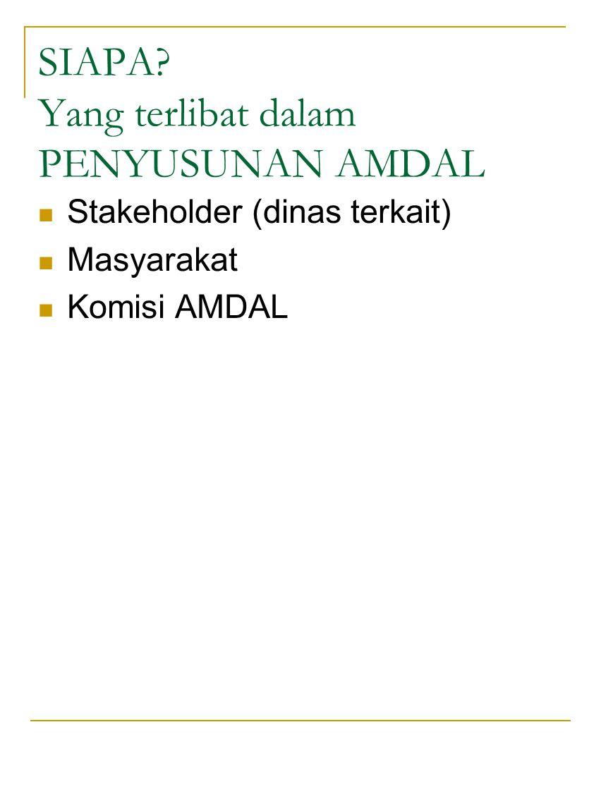 SIAPA? Yang terlibat dalam PENYUSUNAN AMDAL Stakeholder (dinas terkait) Masyarakat Komisi AMDAL