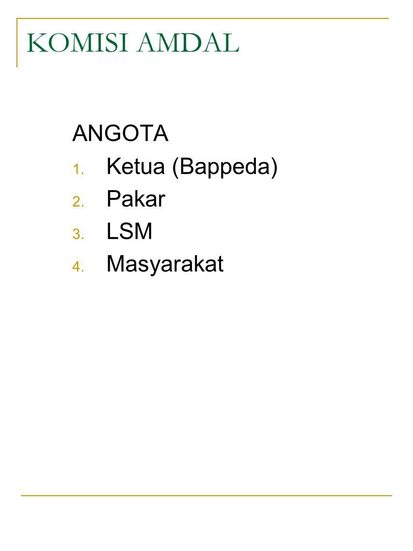 KOMISI AMDAL ANGOTA 1. Ketua (Bappeda) 2. Pakar 3. LSM 4. Masyarakat