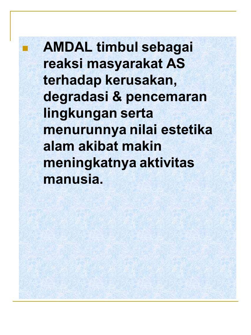 AMDAL timbul sebagai reaksi masyarakat AS terhadap kerusakan, degradasi & pencemaran lingkungan serta menurunnya nilai estetika alam akibat makin meni