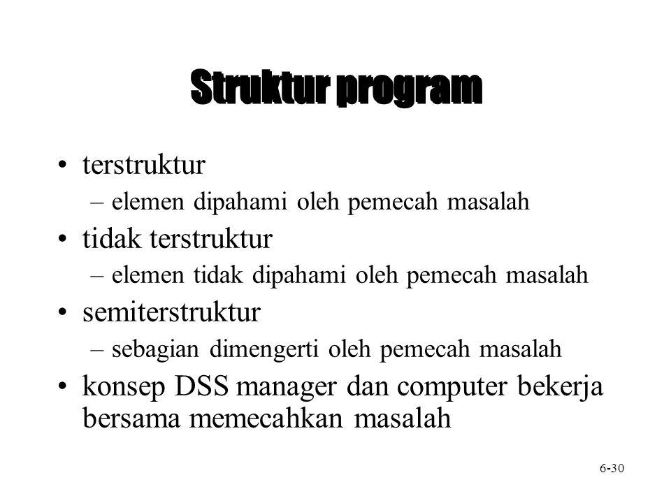 Struktur program terstruktur –elemen dipahami oleh pemecah masalah tidak terstruktur –elemen tidak dipahami oleh pemecah masalah semiterstruktur –sebagian dimengerti oleh pemecah masalah konsep DSS manager dan computer bekerja bersama memecahkan masalah 6-30
