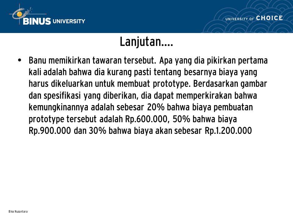 Bina Nusantara Lanjutan….Banu memikirkan tawaran tersebut.