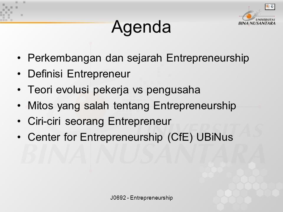 J0692 - Entrepreneurship Agenda Perkembangan dan sejarah Entrepreneurship Definisi Entrepreneur Teori evolusi pekerja vs pengusaha Mitos yang salah te