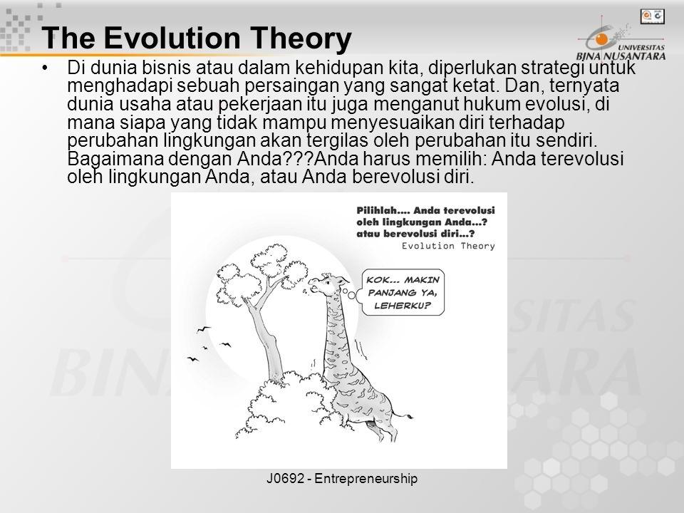 J0692 - Entrepreneurship The Evolution Theory Di dunia bisnis atau dalam kehidupan kita, diperlukan strategi untuk menghadapi sebuah persaingan yang s