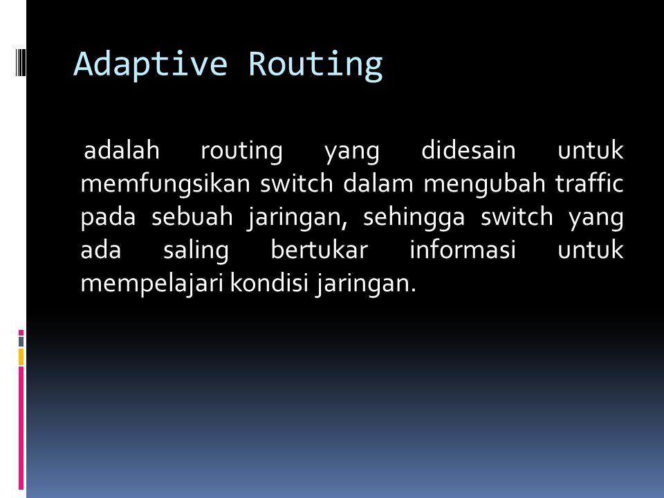 Adaptive Routing adalah routing yang didesain untuk memfungsikan switch dalam mengubah traffic pada sebuah jaringan, sehingga switch yang ada saling bertukar informasi untuk mempelajari kondisi jaringan.