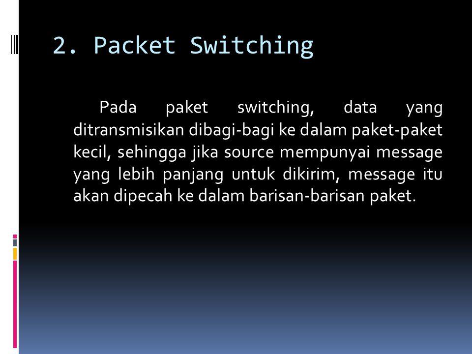 2. Packet Switching Pada paket switching, data yang ditransmisikan dibagi-bagi ke dalam paket-paket kecil, sehingga jika source mempunyai message yang