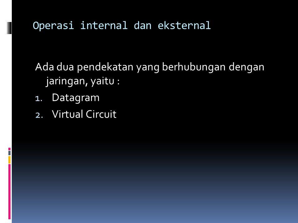 Operasi internal dan eksternal Ada dua pendekatan yang berhubungan dengan jaringan, yaitu : 1. Datagram 2. Virtual Circuit