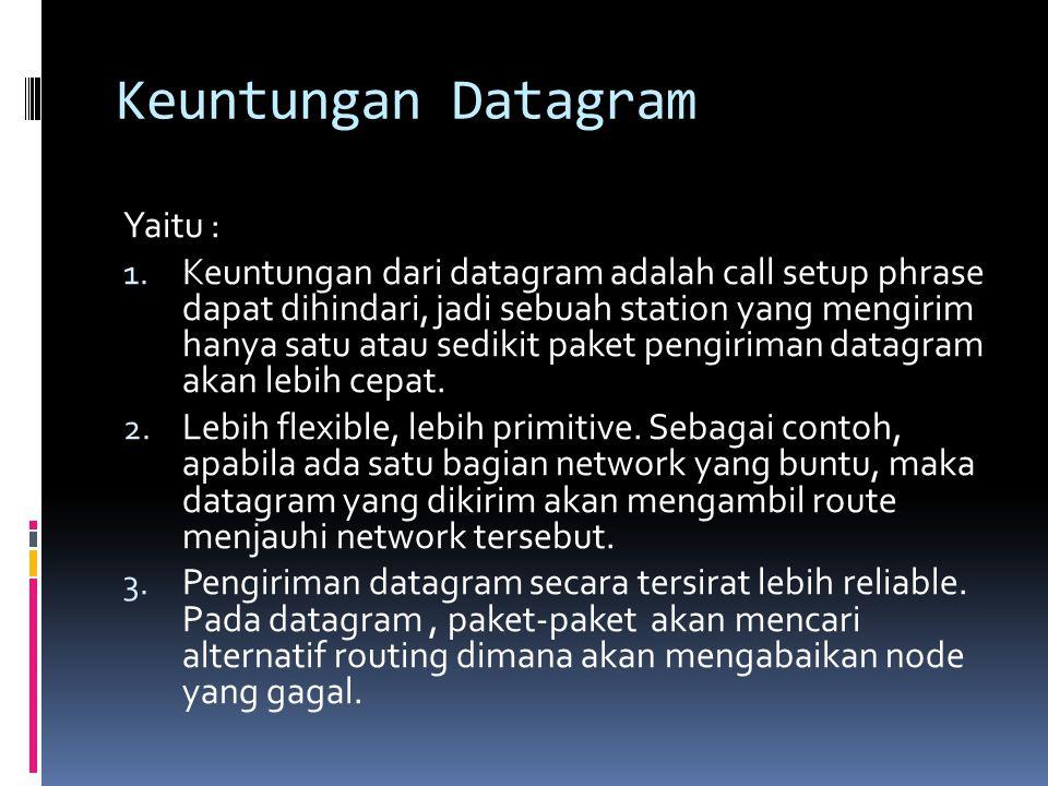 Keuntungan Datagram Yaitu : 1. Keuntungan dari datagram adalah call setup phrase dapat dihindari, jadi sebuah station yang mengirim hanya satu atau se