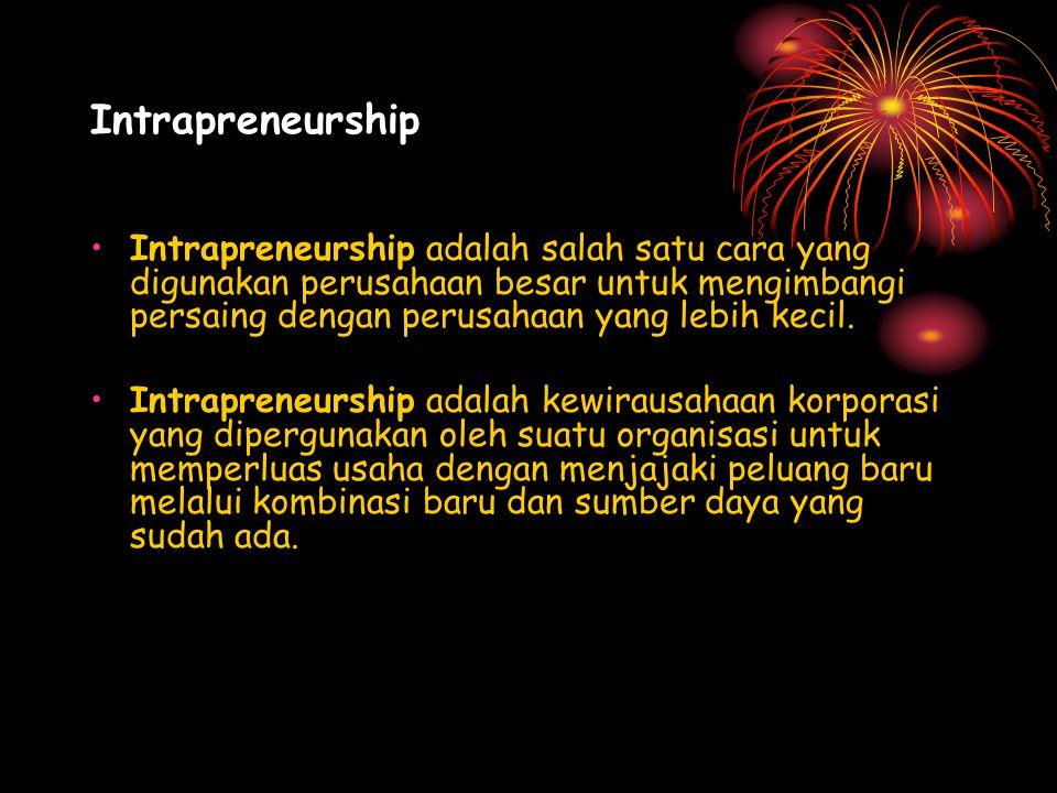 Intrapreneurship Intrapreneurship adalah salah satu cara yang digunakan perusahaan besar untuk mengimbangi persaing dengan perusahaan yang lebih kecil.